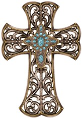 Open Scroll Wall Cross, Pewter