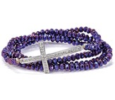 Cross Stretch Wrap Bracelet, Purple