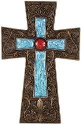 Ornate Wall Cross, Turquoise and Coral