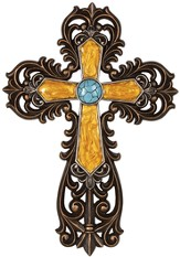 Ornate Scroll Wall Cross, Turquoise and Gold