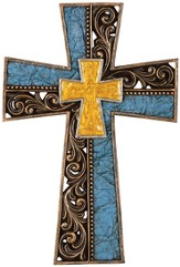 Ornate Gothic Wall Cross, Turquoise and Gold