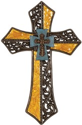 Ornate Passion Wall Cross, Turquoise and Gold