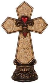 Heart Of Christ, Fleur De Lis Pedestal Cross