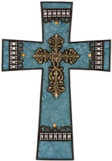 Classic Wall Cross, Turquoise with Crystals