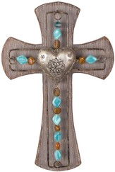 Heart and Beads Wall Cross