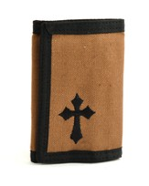 Trifold Wallet with Cross, Brown