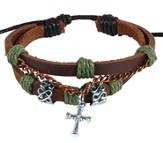 Leather and Chain Cross Bracelet