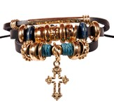 Boho Bracelet, Black Leather With Gold Cross