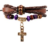 Boho Bracelet, Brown Braided Leather With Gold Cross