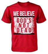 Tshirt We Believe God's Not Dead Men Short Sleeved Large Red