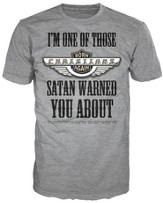 Satan Warned Shirt, Gray, Large