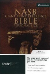 NAS Giant Print Reference Bible, Personal Size, Bonded leather, Black