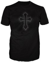 Rhinestone Cross Burst Shirt, Black, 3X Large