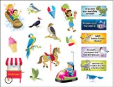 IncrediWorld Amazement Park Daily Phrase Sticker Sheets with Picture (Pack of 10)