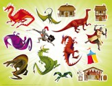 Kingdom Chronicles Dragons sticker sheet with picture (pack of 10)