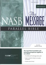 The Message, NASB Parallel Bible Bonded Leather, Black