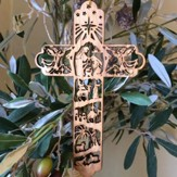 Cross with Nativity Scene Olivewood Ornament