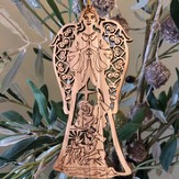 Angel with the Nativity Olivewood Ornament