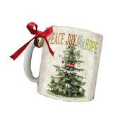 Peace, Joy and Hope Mug, with Ribbon and Jingle Bell, Blue, Green, Red