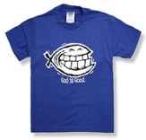 God Is Good/Smiley Ichthus T-Shirt, Royal Blue, Youth Small