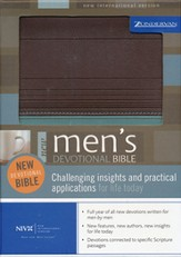 NIV New Men's Devotional Bible Chocolate/Turquoise Leather-like 1984 - Imperfectly Imprinted Bibles