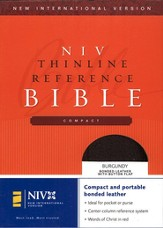NIV Compact Thinline Reference Button Flap, bonded burgundy 1984
