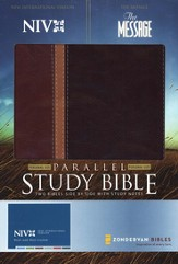 NIV The Message/Parallel Study Bible, Personal-Size, Soft Leather-Look, Dark Caramel/Black Cherry--Updated