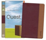 NIV Quest Study Bible, Personal Size: The Question and Answer Bible, Imitation Leather, Burgundy Tan - Slightly Imperfect