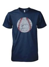 Baseball Word Shirt, Navy, Large