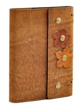 Leather Flower Journal, Brown