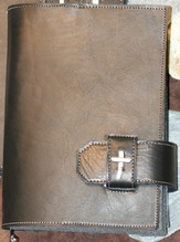 Leather Bible Cover with Cross, Black, Large