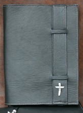 Strap Leather Bible Cover, Black, Large