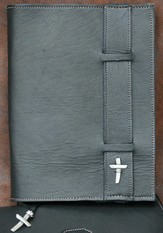 Strap Leather Bible Cover, Black, Extra Large