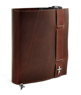 Strap Leather Bible Cover, Burgundy, XX Large