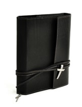 Leather Wrap Bible Cover, Black, Extra Large