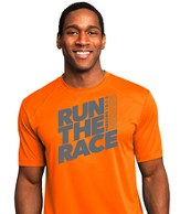 Run The Race, Performance Tee Shirt, Neon Orange, Medium (38-40)