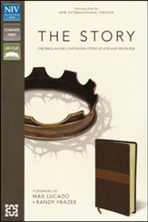 The Story, NIV: The Bible as One Continuous Story of God and His People, Italian Duo-Tone, Chocolate/Tan - Imperfectly Imprinted Bibles