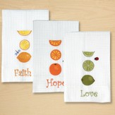 Kitchen Towels, Set of 3; Faith, Hope, Love