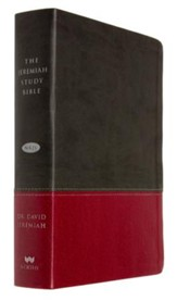 NKJV The Jeremiah Study Bible--soft leather-look, charcoal/burgundy (indexed) - Imperfectly Imprinted Bibles