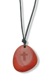 Teardrop Pendant with Cross, Amber