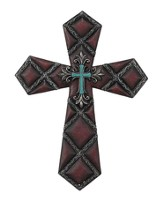 Copper Wall Cross with Turquoise Cross