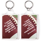 Football, I Can Do All Things Through Christ Keyring