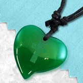 Heart Pendant with Cross, Green