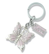 Love, Butterfly Keychain, Pink
