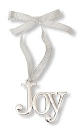Joy Reflective Metal Ornament with Ribbon