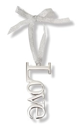 Love Reflective Metal Ornament with Ribbon