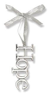 Hope Reflective Metal Ornament with Ribbon