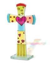 Fused Glass Table Cross, Flared With Heart