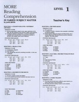 More Reading Comprehension, Teacher's key, Level 1