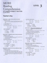 Reading Comprehension in Varied Subject Matter, Answer Key - Grade 11